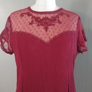 City Triangles Maroon Dress with Lace